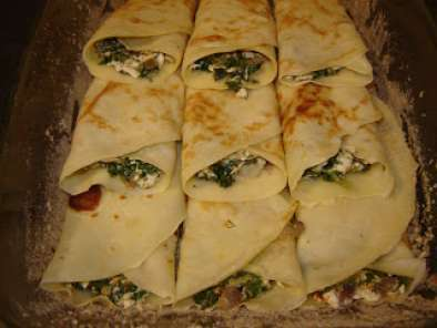 Clatite la cuptor cu spanac si branza / Baked pancakes with spinach and cheese